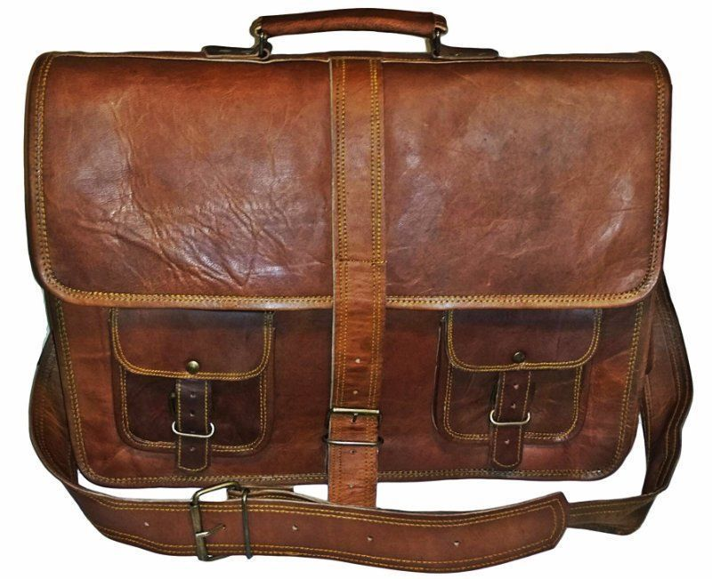 f5314a07bdbf 16″ Large brown Leather bag for men messenger bag shoulder bag mens Laptop  Bag