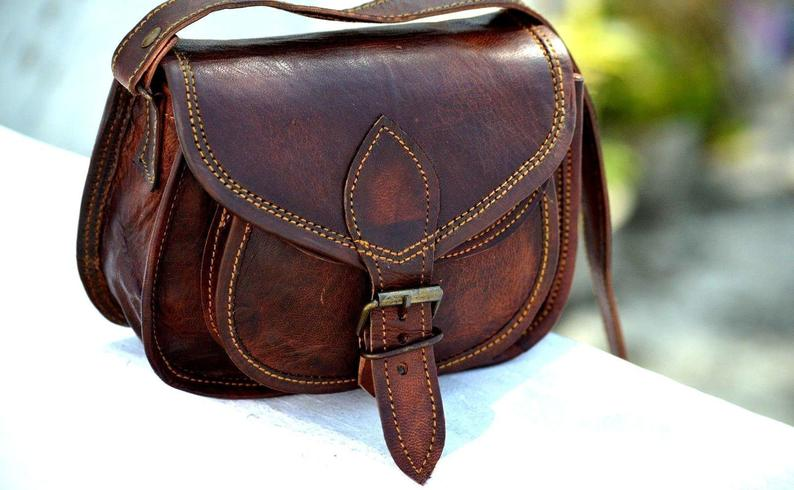 Real leather handmade messenger brown vintage satchel cross body shoulder bag